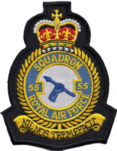 No. 55 Squadron Royal Air Force RAF Crest MOD Embroidered Patch